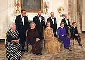 Present and former United States Presidents and first ladys pose for a group photo prior to attending the 200th Anniversary of the White House Dinner in the East Room of the White House in Washington, D.C. on November 9, 2000.  From left to right front row: Barbara Bush, Lady Bird Johnson, Hillary Rodham Clinton, Betty Ford, and Rosalynn Carter. From left to right back row: former U.S. President George H.W. Bush, U.S. President Bill Clinton, former U.S. President Gerald R. Ford, and former U.S. President Jimmy Carter.  [Editors Note: Photographer Arnie Sachs has been covering the White House for the last half century]<br /> Credit: Arnie Sachs / CNP