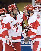 Ben Rosen (BU - 8), Kevin Shattenkirk (BU - 3) - The Boston University Terriers defeated the Merrimack College Warriors 6-4 on Saturday, November 14, 2009, at Agganis Arena in Boston, Massachusetts.