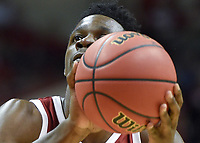 NWA Democrat-Gazette/CHARLIE KAIJO Arkansas Razorbacks forward Adrio Bailey (2) shoots during the second half of the NCAA National Invitation Tournament, Saturday, March 23, 2019 at the Simon Skjodt Assembly Hall at the University of Indiana in Bloomington, Ind. The Arkansas Razorbacks fell to the Indiana Hoosiers 63-60.