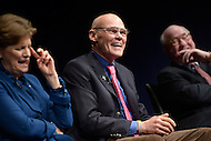 Washington, DC - February 11, 2015: Political strategist James Carville (c) shares a laugh as he participates in a panel discussion on the history and importance of the New Hampshire primary held at the Newseum in the District of Columbia, February 11, 2015. (L-R) Sen. Jeanne Shaheen, Tom Rath.  (Photo by Don Baxter/Media Images International)