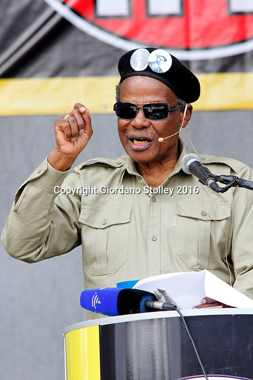 DURBAN - 12 June 2016 - Mangosuthu Buthelezi, the octogenarian leader of South Africa's Inkatha Freedom Party addresses supporters at a rally in Durban's King Zwelithini Sadium where the party's local government election manifesto was launched. The country's voters go to the polls on August 3 to elect the councillors who will serve them in the more than 200 municipalities. - Picture: Allied Picture Press/APP