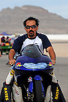 Nov. 1, 2008; Las Vegas, NV, USA: NHRA pro stock motorcycle rider Freddie Camarena during qualifying for the Las Vegas Nationals at The Strip in Las Vegas. Mandatory Credit: Mark J. Rebilas-