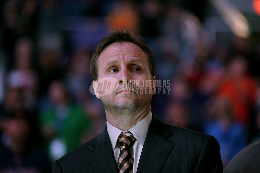 Feb. 10, 2013; Phoenix, AZ, USA: Oklahoma City Thunder head coach Scott Brooks against the Phoenix Suns at the US Airways Center. Mandatory Credit: Mark J. Rebilas-