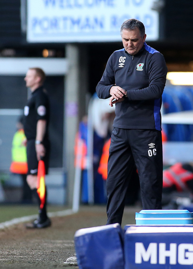 Blackburn Rovers manager Owen Coyle looks concerned after his side go 1-0 behind<br /> <br /> Photographer David Shipman/CameraSport<br /> <br /> The EFL Sky Bet Championship - Ipswich Town v Blackburn Rovers - Saturday 14th January 2017 - Portman Road - Ipswich<br /> <br /> World Copyright &copy; 2017 CameraSport. All rights reserved. 43 Linden Ave. Countesthorpe. Leicester. England. LE8 5PG - Tel: +44 (0) 116 277 4147 - admin@camerasport.com - www.camerasport.com