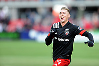 WASHINGTON, DC - FEBRUARY 29: Washington, D.C. - February 29, 2020: Russell Canouse #4 of D.C. United celebrates his score. The Colorado Rapids defeated D.C. Untied 2-1 during their Major League Soccer (MLS)  match at Audi Field during a game between Colorado Rapids and D.C. United at Audi Field on February 29, 2020 in Washington, DC.