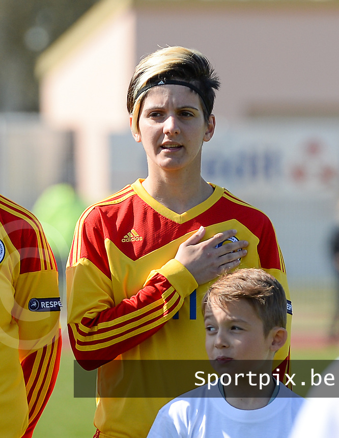 20150406 - OZOIR , FRANCE  : Romanian Claudia Bistrian pictured during the soccer match between Women Under 19 teams of France and Romania , on the second matchday in group 3 of the UEFA Elite Round Women Under 19 at Stade des 3 Sapins , Ozoir La Ferriere , France . Monday 6th April 2015 . PHOTO DAVID CATRY