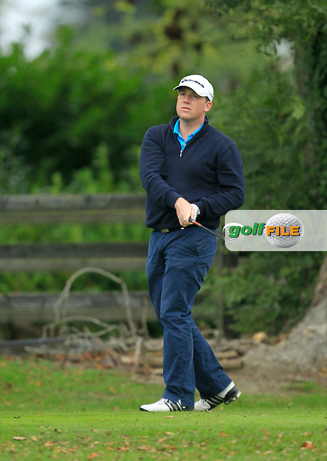 Michael Collins (Mallow G.C) on the 1st during Round 3 of The Cassidy Golf 103rd Irish PGA Championship in Roganstown Golf Club on Saturday 12th October 2013.<br /> Picture:  Thos Caffrey / www.golffile.ie
