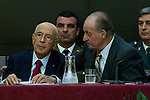 03.10.2012. VIII COTEC Europe Meeting, co-chaired by King Juan Carlos of Spain, the President of the Italian Republic, Giorgio Napolitano, and the President of the Portuguese Republic, Aníbal Cavaco Silva, at the Royal Palace of El Pardo, Madrid, Spain. In the image Giorgio Napolitano and King Juan Carlos (Alterphotos/Marta Gonzalez)