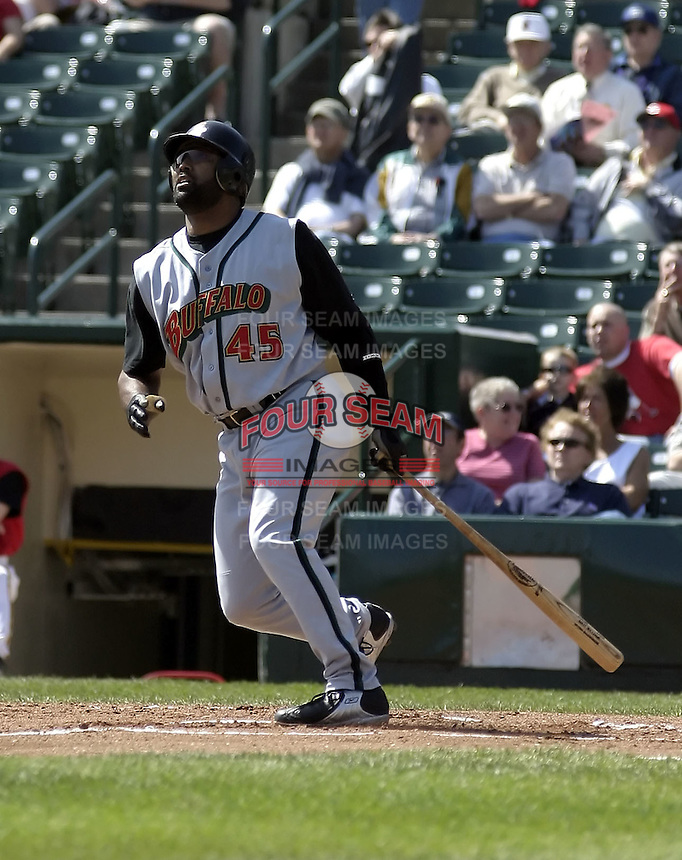 April 28, 2004:  Ernie Young of the Buffalo Bisons, International League (AAA) affiliate of the Cleveland Indians, during a game at Frontier Field in Rochester, NY.  Photo by:  Mike Janes/Four Seam Images