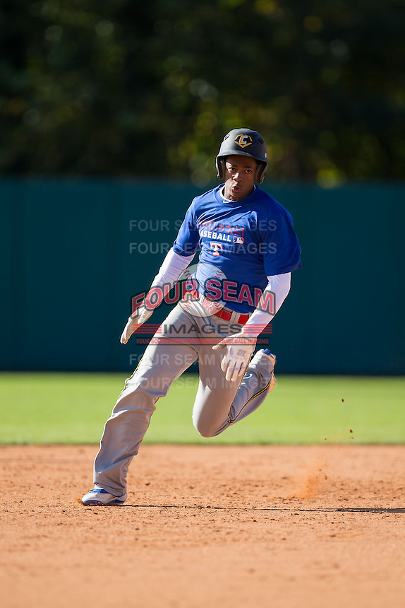 Brody Cook (13) of Riverdale Baptist High School in Upper Marlboro, Maryland playing for the Texas Rangers scout team at the South Atlantic Border Battle at Doak Field on November 2, 2014.  (Brian Westerholt/Four Seam Images)