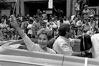 Actress Janine Sutto and Mayor Jean Dore take part in Quebec national Holliday Parade, June 24, 1994<br /> <br /> PHOTO : Pierre Roussel - Agence Quebec Presse