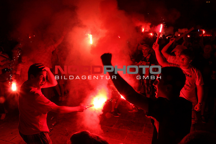 12.06.2014. Croatia, Rijeka - Fans in bars and on the  squares follow the game opening match of 2014 FIFA World Cup between Brazil and Croatia. The celebration after the goal<br /> <br /> Foto &copy;  nph / PIXSELL / Goran Kovacic