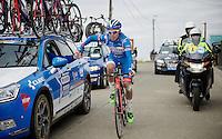Jérôme Baugnies (BEL/Wanty-Groupe Gobert) receiving some food from DS Hilaire Van der Schueren in the teamcar<br /> <br /> Omloop Het Nieuwsblad 2015