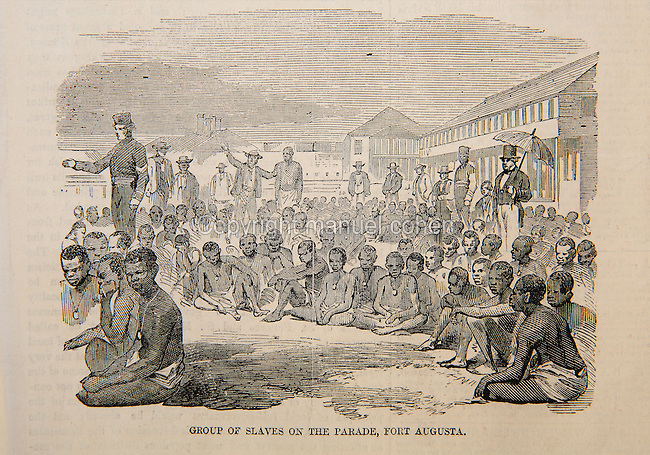 Group of slaves on the parade, Fort August, Port Royal, Jamaica, illustration from the Illustrated London News, 20th June 1857, engraving after a photograph. In April 1857 a British naval vessel captured the slave ship Zeldina and brought it to Port Royal, freeing the 370 survivors of the 500 Africans who boarded in Angola 46 days earlier. The slaves had been kept in appalling squalid conditions, which were outlined in a letter to the editor which accompanied several illustrations. Copyright © Collection Particuliere Tropmi / Manuel Cohen