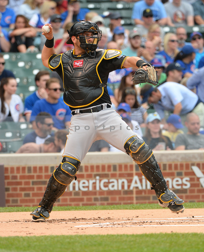 Pittsburgh Pirates Francisco Cervelli (29) during a game against the Chicago Cubs on May 17, 2015 at Wrigley Field in Chicago, IL. The Pirates beat the Cubs 3-0.
