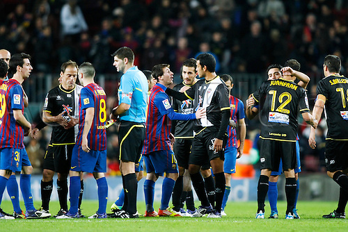 "Two team group, DECEMBER 3, 2011 - Football / Soccer : Spanish ""Liga Espanola"" match between FC Barcelona 5-0 Levante UD at Camp Nou stadium in Barcelona, Spain."