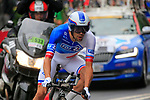 Thibaut Pinot (FRA) FDJ in action during Stage 1, a 14km individual time trial around Dusseldorf, of the 104th edition of the Tour de France 2017, Dusseldorf, Germany. 1st July 2017.<br /> Picture: Eoin Clarke | Cyclefile<br /> <br /> <br /> All photos usage must carry mandatory copyright credit (&copy; Cyclefile | Eoin Clarke)