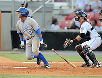 Infielder Adrian Bringas (9) of the Burlington Royals, Appalachian League affiliate of the Kansas City Royals, in a game against the Kingsport Mets on August 20, 2011, at Hunter Wright Stadium in Kingsport, Tennessee. Kingsport defeated Burlington, 17-14. (Tom Priddy/Four Seam Images)