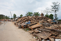 Damaged belongings lay in the ground at Jalkeni village, Karvrepalanchowk, outside of Kathmandu, Nepal. May 1, 2015
