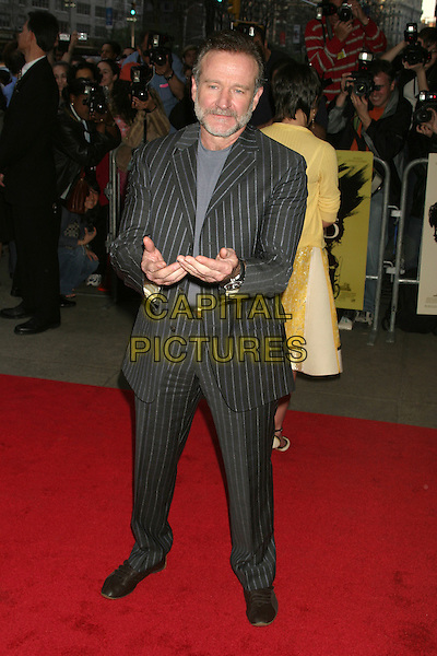 "ROBIN WILLIAMS.""House Of D"" New York Film Premiere, New York City, USA, April 10th 2005..full length pinstripe pin stripe striped suit beard hands gesture.Ref: IW.www.capitalpictures.com.sales@capitalpictures.com.©Ian Wilson/Capital Pictures."