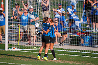 Kansas City, MO - Wednesday August 16, 2017: Lo'eau Labonta, Shea Groom during a regular season National Women's Soccer League (NWSL) match between FC Kansas City and Sky Blue FC at Children's Mercy Victory Field.