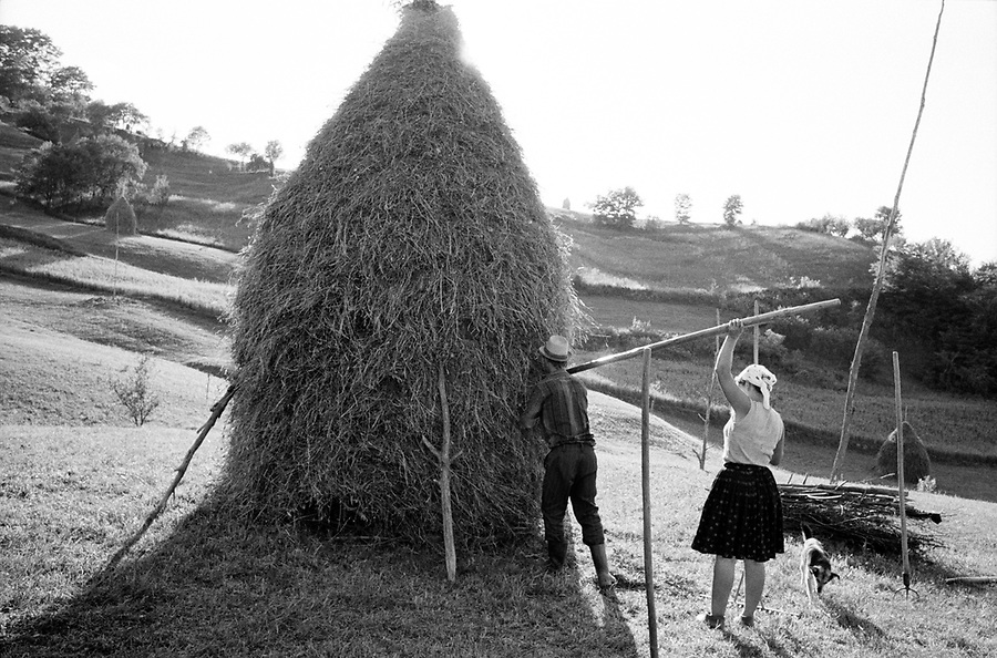 ROMANIA / Maramures / Valeni / June 2003..A husband and wife finish making a haystack...© Davin Ellicson / Anzenberger