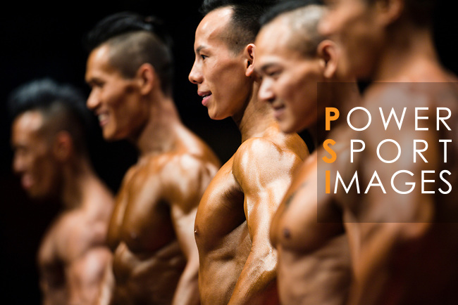 Bodybuilders show their muscles during the Hong Kong Bodybuilding Championships 2017 on June 11, 2017 in Hong Kong, China. Photo by Marcio Rodrigo Machado / Power Sport Images