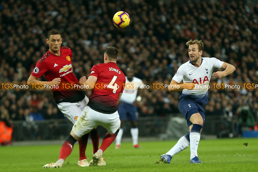Harry Kane of Tottenham Hotspur fires in a shot during Tottenham Hotspur vs Manchester United, Premier League Football at Wembley Stadium on 13th January 2019