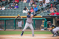 Matt Clark (23) of the Colorado Springs Sky Sox at bat against the Salt Lake Bees in Pacific Coast League action at Smith's Ballpark on May 24, 2015 in Salt Lake City, Utah.  (Stephen Smith/Four Seam Images)