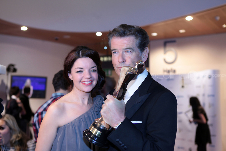 12/2/11 Sun reporter Jennifer O'Brien with Pierce Brosnan, Best Actor in a supporting role for The Ghost, at the 8th Irish Film and Television Awards at the Convention centre in Dublin. Picture:Arthur Carron/Collins