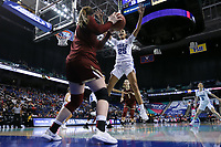 GREENSBORO, NC - MARCH 06: Jade Williams #25 of Duke University defends an inbounds pass from Emma Guy #11 of Boston College during a game between Boston College and Duke at Greensboro Coliseum on March 06, 2020 in Greensboro, North Carolina.