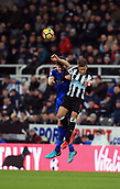 9th December 2017, St James Park, Newcastle upon Tyne, England; EPL Premier League football, Newcastle United versus Leicester City; Harry Maguire of Leicester City and Dwight Gayle of Newcastle United compete for a header