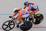 June 23, 2012:  The Netherland's, Yvonne Hijgenaar (left) battles USA's, Dana Feiss (right), in match sprint competition during the U.S. Grand Prix of Sprinting, Seven Eleven Velodrome, Colorado Springs, CO.