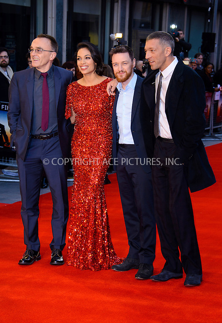 WWW.ACEPIXS.COM....US Sales Only....March 19 2013, London....(L-R) Danny Boyle, Rosario Dawson, James McAvoy and Vincent Cassel at the World premiere of 'Trance' held at the Odeon West End on March 19 2013  in London ....By Line: Famous/ACE Pictures......ACE Pictures, Inc...tel: 646 769 0430..Email: info@acepixs.com..www.acepixs.com