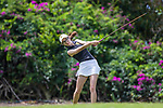 HOWEY IN THE HILLS, FL - MAY 11: Rachele Miller of the DePauw University women's golf team tees off during the Division III Women's Golf Championship.The Claremont Mudd Scripps won the team and individual (Margaret Loncki) First Place Championships during the Division III Women's Golf Championship held at the Mission Inn Resort & Club on May 11, 2018 in Howey-In-The-Hills, Florida. (Photo by Matt Marriott/NCAA Photos via Getty Images)