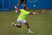 June 12th 2017,  Nottingham, England; WTA Aegon Nottingham Open Tennis Tournament day 3; 18 yr old Jay Clarke of Great Britain stretches to hit a backhand in his match against Yuki Bhambri of India