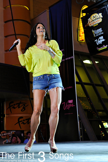 Sara Evans performs during the ACM Concerts at Fremont Street Experience Event in Las Vegas, Nevada on April 1, 2011.