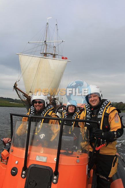 Donnacha McCobb, Sue McKinney and Colum Watts on board the coast guard boat.at the Tall Ships on the North Quay part of the Drogheda Fringe and Maritime Festival..Picture:  www.newsfile.ie ..