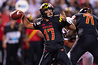 College Park, MD - SEPT 27, 2019: Maryland Terrapins quarterback Josh Jackson (17) drops back to pass during game between Maryland and Penn State at Capital One Field at Maryland Stadium in College Park, MD. The Nittany Lions beat the Terps 50-0. (Photo by Phil Peters/Media Images International)