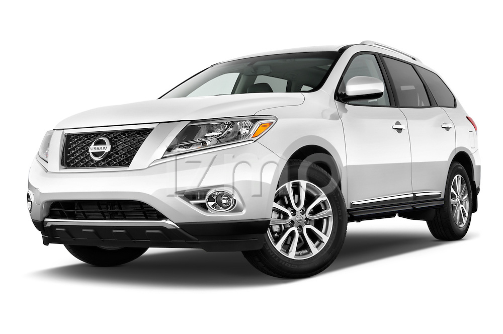 Stock pictures of low aggressive front three quarter view of a 2015 Nissan Pathfinder Sl 2Wd 5 Door Suv 2WD Low Aggressive