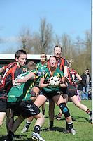 KORFBAL: REDUZUM: Sportpark Reduzum, 28-04-2013, Veld Hoofdklasse A, KV Mid Fryslân-LDODK AH Gorredijk, Eindstand 13-19, Hilde de Boer (#10 | LDODK), ©foto Martin de Jong