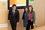 Madrid Regional President Ignacio Gonzalez (L), Spanish Deputy Prime Minister Soraya Saenz de Santamaria (C) and Princess Letizia Ortiz of Spain (R) attend the 1st International Congress Against Gender Violence inauguration at Fundacion Canal building in Madrid, Spain. November 05, 2013. (ALTERPHOTOS/Victor Blanco)
