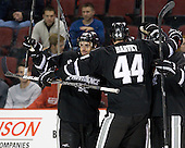 Stefan Demopoulos (PC - 12), Myles Harvey (PC - 44), Kevin Hart (PC - 2) - The Boston University Terriers defeated the visiting Providence College Friars 4-2 (EN) on Saturday, December 13, 2012, at Agganis Arena in Boston, Massachusetts.