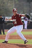 Boston College pitcher John Gorman #34 pitching during a game against the James Madison University Dukes at Watson Stadium at Vrooman Field on February 18, 2012 in Conway, SC.  Boston College defeated James Madison 8-5.  (Robert Gurganus/Four Seam Images)