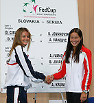 Tenis, Fed Cup 2011, play-off for group A.Slovakia Vs. Serbia, Official Draw.Daniela Hantuchova, left and Ana Ivanovic.Bratislava, 15.04.2011..foto: Srdjan Stevanovic/Starsportphoto ©