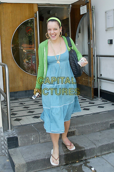 LILY ALLEN<br /> Leaving Radio 1's Maida Vale Studios, London, <br /> England,<br /> July 3rd 2006.<br /> full length blue dress green cardigan black bag flip flops heart earrings necklace green hair band holding cigarette packet swollen foot lilly allan alen <br /> Ref: JMD<br /> www.capitalpictures.com<br /> sales@capitalpictures.com<br /> &copy;Joe Mockford/Capital Pictures
