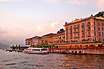 Bellagio waterfront at sunset, town on Lake Como, Italy