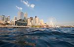 Seattle, skyline, Seattle waterfront, Elliott Bay, Seattle Great Wheel, a new Ferris wheel on Pier 57, downtown, Washington State, USA, Puget Sound, Pacific Northwest, United States,