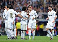 FUSSBALL   CHAMPIONS LEAGUE   SAISON 2011/2012  Achtelfinale Rueckspiel 14.03.2012 Real Madrid  - ZSKA Moskau  JUBEL Real Madrid; Pepe, Mesut Oezil, Marcelo und zweifacher Torschuetze Cristiano Ronaldo und Pepe (v.li.)