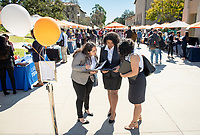 From left: Jasmine Esparza '19; Chelsie Goins '19 and Alejandra Arroyo '19<br /> Occidental College Career Services hosts the Career Fair, open to all students seeking full-time, professional jobs and internships, in the AGC quad on Feb. 19, 2019.<br /> (Photo by Marc Campos, Occidental College Photographer)
